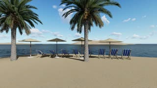 chairs under an umbrellas at the beach by sunny day and  palm trees - 3D render
