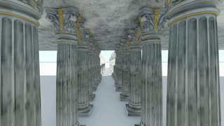 Classical white Greek style columns.3D animation and rendering