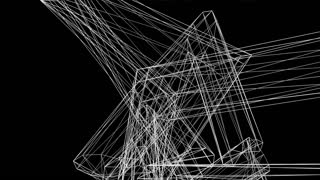 Complex abstract wire frame shape floats in black space