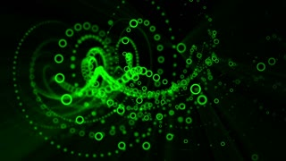 Computer generated   animation of green spiral shape spins
