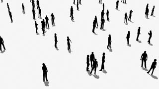 Crowd of people moves.3D animation and rendering