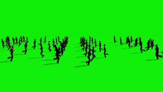 Crowd People Walking on Green Screen - 3D Rendering Animation