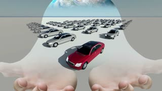 Mixed media of two 3d animation  of  hand holding globe and hundreds cars but only one red