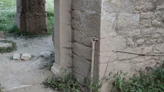 Old ruined Church interior.Creepy ruins.