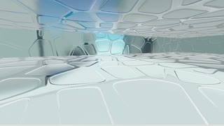 Smooth glass interior. 3D rendering. 3d animation