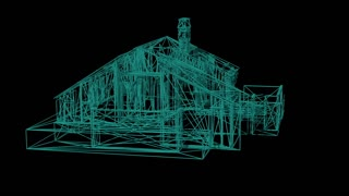 wire frame model of house - 3D Rendering