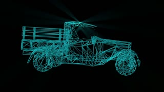 wire frame model of truck car - 3D Rendering