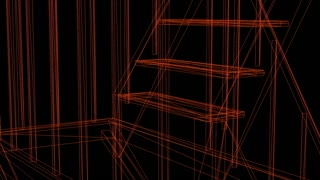 wire frame of emergency stairs - 3d rendering animation