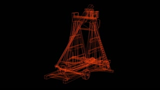 wireframe model of antique big old wooden catapult with the big stones