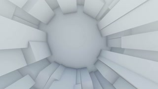 Zooming through white cube tunnel. 3d animation