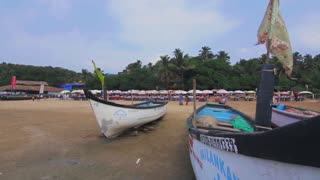 Fisherman's boats on the beach in Goa