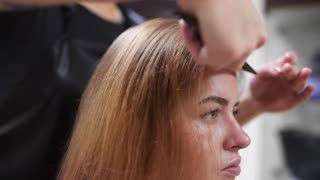 Hairdresser combs woman's hair before making haircut, health and beauty, woman in beauty studio, long and healthy hair