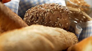 Loaf of bread in the basket, bakery products, fresh bakery