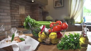 Still life with basket full of fresh vegetables, vegetarian food, cooking vegetables