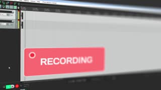 Video that shows moving waveform of audio recording on computer to the stereo track online and warns user with blinking red alert button about record is running, interface video, screen capture, sound