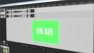Video that shows moving waveform of audio recording online and warns user with blinking green alert button about on air broadcasting, interface video, screen capture, sound design and production