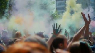 Celebration of Holi colors festival , slow motion
