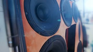 Closeup at moving sub-woofer. Speaker part.