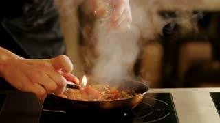 Cooking fajitas . Close-up.