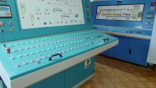 Many buttons and switches - control panel in a machine.