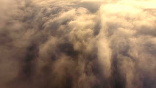 Panoramic view above the clouds. Aerial.