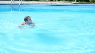 Sports guy, happy to swim in basseyne.Slow motion