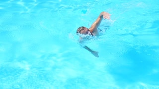 Sports guy, happy to swim in basseyne.Slow motion