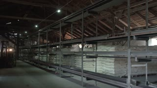 Unloading sacks of flour in a warehouse.