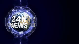 24h NEWS Text Animation and Earth, Loop, 4k