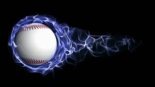 Baseball Ball in Blue Abstract Particles Ring, Loop, 4k