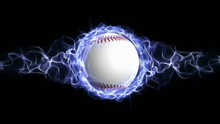 Baseball Ball in Blue Abstract Particles Ring, Rendering, Animation Background, Loop, 4k