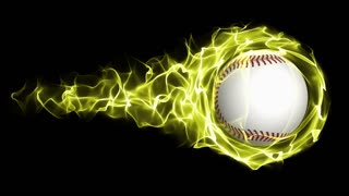 Baseball Ball in Yellow Flames Abstract Particles  Ring, Loop, 4k
