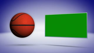 Basket Ball and Green Screen Monitor, Background Loop, 4k
