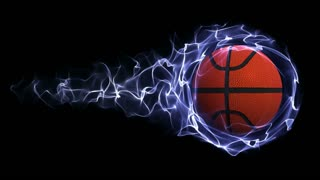 Basket Ball in Blue Abstract Particles Ring, Loop, 4k