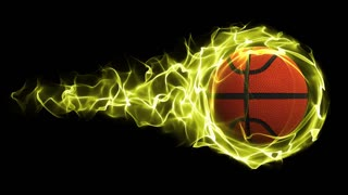 Basket Ball in Yellow Flames Abstract Particles Ring, Loop, 4k