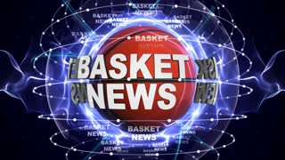 BASKET NEWS Text Animation and Ball, Loop, 4k