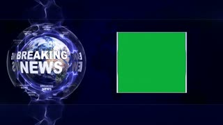 BREAKING NEWS Text Animation and Earth and Green Screen, Loop, 4k