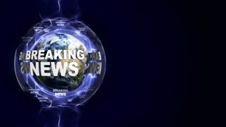 BREAKING NEWS Text Animation and Earth, Loop, 4k