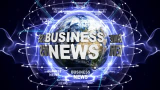 BUSINESS NEWS Text Animation and Earth, Loop, 4k