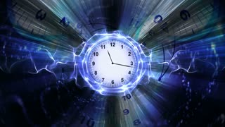 Clocks, Time Travel Tunnel in Fibers Ring, Rendering, Animation, Background, Loop, 4k