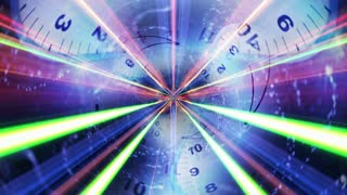 Clocks Tunnel and Fibers Ring, Time Travel Concept, Animation, Rendering, Background, Loop, 4k