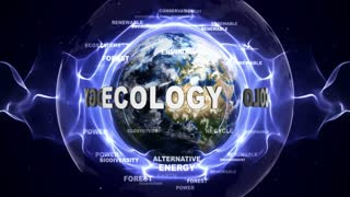 ECOLOGY Text Animation and Earth, Loop, 4k