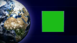 Green Screen Monitor and Earth and Business Technology Bars Background, Loop, 4k