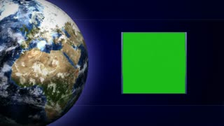 Green Screen Monitor and Earth and Technology Bars Background, Loop, 4k