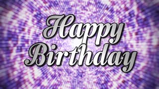 Happy Birthday Animation Rotation Text and Disco Dance Background, with Alpha Channel, Loop, 4k