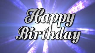 Happy Birthday Animation Text and Disco Dance Background, Zoom IN/OUT Rotation, with Alpha Channel, Loop, 4k