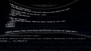 HTML Code Room, Internet Technology Concept, Loop, 4k