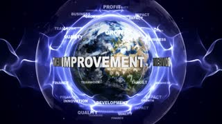 IMPROVEMENT Text Animation and Earth, Loop, 4k