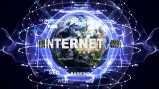 INTERNET MARKETING Text Animation and Earth, Loop, 4k