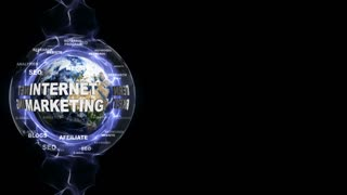 INTERNET MARKETING Text Animation and Earth, with Keyboards, Loop, 4k